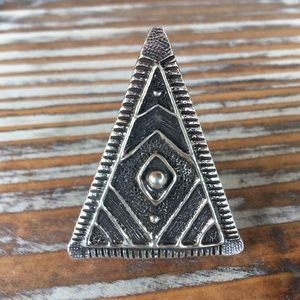 Navajo Sterling Silver Triangle Ring Size 8.5